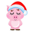 Cute cartoon vector pink pig. Animal of New Year 2019