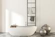 Leinwanddruck Bild - Marble and wooden bathroom, white tub vases