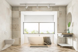 White bathroom interior, tub and sink - 220360940