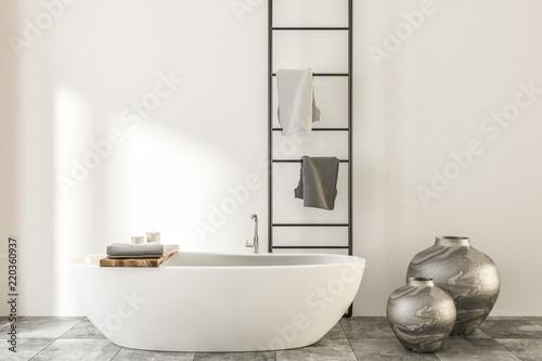 Leinwanddruck Bild Marble and wooden bathroom, white tub vases