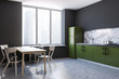 Leinwanddruck Bild - Kitchen corner, green countertops, table