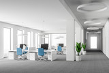 White open space office interior, blue chairs - 220361389