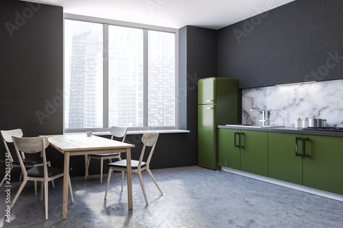 Leinwanddruck Bild Kitchen corner, green countertops, table