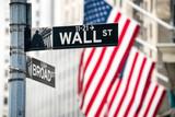 Wall Street in Lower Manhattan, New York City, USA