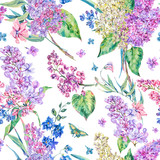 Vector vintage floral seamless pattern with pink lilac - 220362918