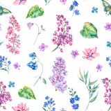 Vector vintage floral seamless pattern with pink lilac - 220363140