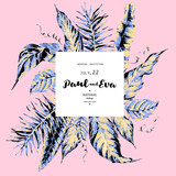 Vector template card of green tropical leaves on pink background - 220364546