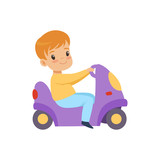 Cute little boy riding a toy motorcycle vector Illustration on a white background