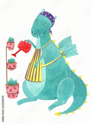 Fototapeta Cute dinosaur with watering can