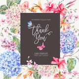 Vector vintage floral greeting card with hydrangeas, orchids - 220370555
