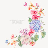 Vector vintage floral greeting card with hydrangeas, orchids - 220370713