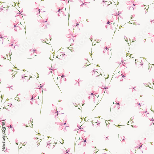 Vector vintage floral seamless pattern with pink wildflowers.