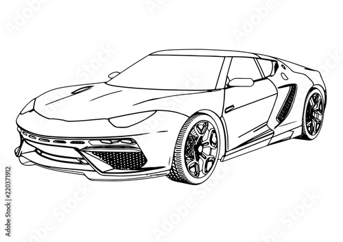 sketch of a sports car vector - 220371912