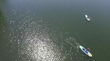 Aerial View of Paddle Borders on the Ladybird Lake in Austin, Tx - 220375345