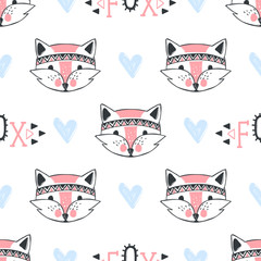 Fashion fox seamless pattern. Cute foxes illustration in sketch style.