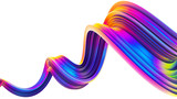 3D wavy bright abstract design element in holographic neon trendy colors - 220376580