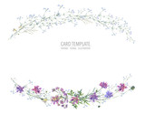 Watercolor summer wreath of wildflowers Botanical colorful illustration - 220380168