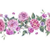 Watercolor decorative vintage pink roses seamless border - 220382164