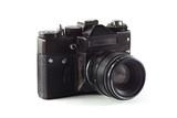 Retro vintage film camera on white background - 220385179