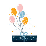 Cute gift box with balloons. Holiday graphic. Vector hand drawn illustration. - 220386988
