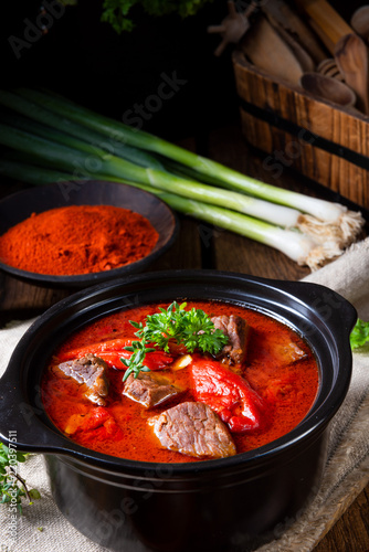 Leinwandbild Motiv A real Hungarian goulash with beef and paprika