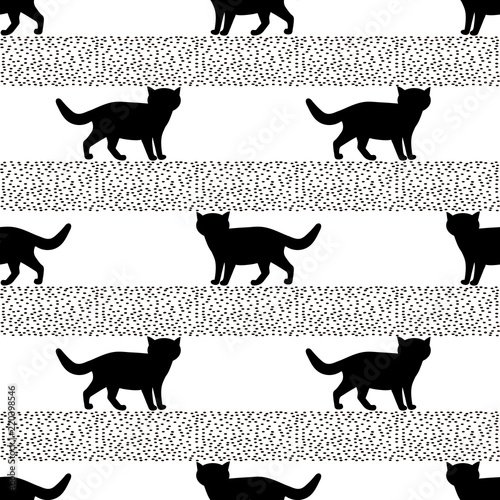 obraz lub plakat Seamless patterns with silhouettes of the black cat.