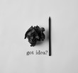 """top view of black crumpled paper and pencil with """"got idea?"""" lettering on white surface"""
