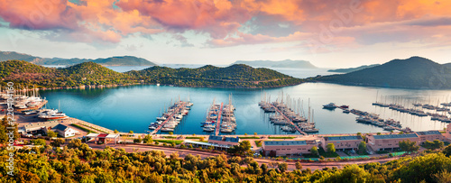 View from the bird's eye of the Kas city, district of Antalya Province of Turkey, Asia. Colorful spring panorama of small Mediterranean yachting and tourist town © jojjik