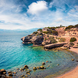 Sunny spring view of West Court of Heraion of Perachora, Limni Vouliagmenis location. Colorful morning seascape of Aegean sea, Greece, Europe. Traveling concept background. - 220409767
