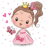 Cute Princess on a white background - 220412702