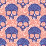 Seamless pattern with hand drawn skulls. Vector Illustration - 220416561