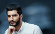 Men Beauty And Fashion. Handsome Man With Black Hair And Beard