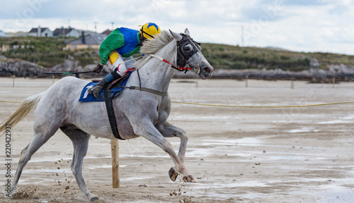 Race horse and jockey galloping on the beach