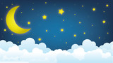 moon on the sky, good night illustration design - 220428332
