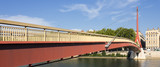 red suspension footbridge over the Saone river - 220429567