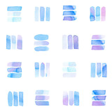 Seamless pattern with abstract geometric figures. Watercolor line-spots in the tiled pattern, blue and violet colors. - 220433936