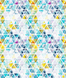 Seamless pattern with abstract geometric triangles. Watercolor spots, shapes, beautiful paint stains like cosmic nebula. Background for parties, holidays, birthdays. - 220434182