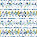 Seamless pattern with abstract geometric triangles. Watercolor spots, shapes, beautiful paint stains like cosmic nebula. Background for parties, holidays, birthdays. - 220434370