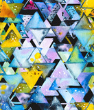 Seamless pattern with abstract geometric triangles in chaotic order. Watercolor spots, shapes, beautiful paint stains like cosmic nebula. Background for parties, holidays, birthdays. - 220434397