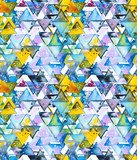 Seamless pattern with abstract geometric triangles in chaotic order. Watercolor spots, shapes, beautiful paint stains like cosmic nebula. Background for parties, holidays, birthdays. - 220434519