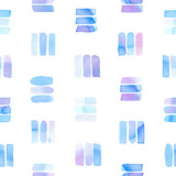 Seamless pattern with abstract geometric figures. Watercolor line-spots in the tiled pattern, blue and violet colors. - 220434546