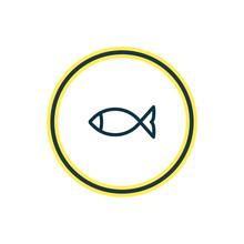 Fish Icon Line Beautiful Tourism Element Also Can Be Used As Seafood Icon Element Sticker
