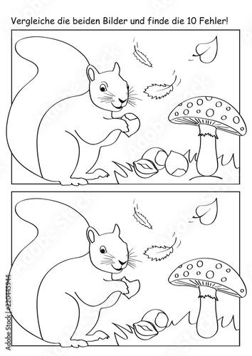 Herbstliches Fehlerbild mit Eichhörnchen, Fliegenpilzen, Blättern und Nüssen