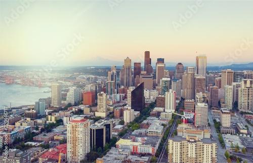Foggy big city  concept. Aerial view