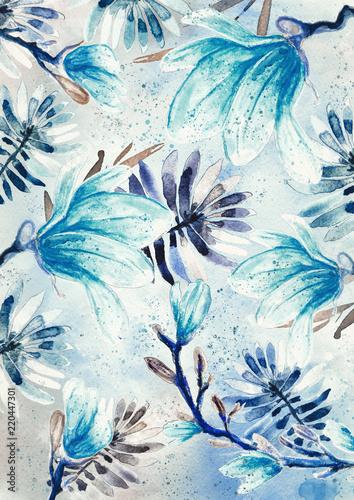 Fototapeta Magnolia flowers watercolor pattern, blue