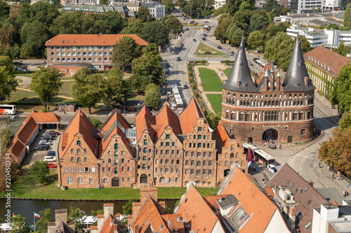 Leinwanddruck Bild Aerial view of Lübeck