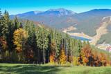 Modern ski resort in autumn time. Bukovel, Ukraine - 220450975