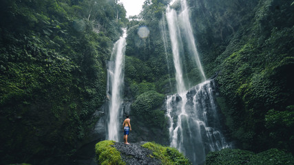 Panoramic view of the Sekumpul Waterfall is one of Bali's most scenic natural attractions.