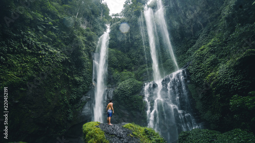 Panoramic view of the Sekumpul Waterfall is one of Bali's most scenic natural attractions. - 220452191