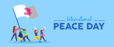 World Peace Day banner of diversity people team - 220455511